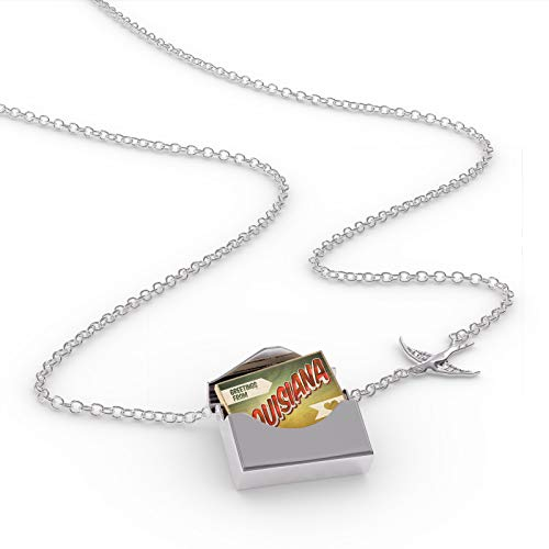 - NEONBLOND Locket Necklace Greetings from Louisiana, Vintage Postcard in a Silver Envelope