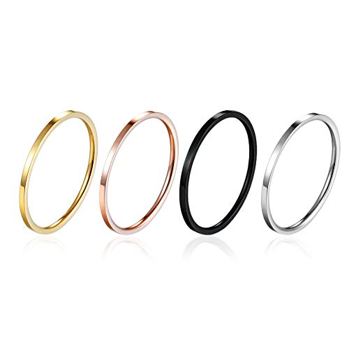 yfigo 4pcs 1mm Titanium Stainless Steel Women Plain Stacking Rings Knuckle Bands Classic Wedding Bands Silver-Gold-Rose Tone-Black -