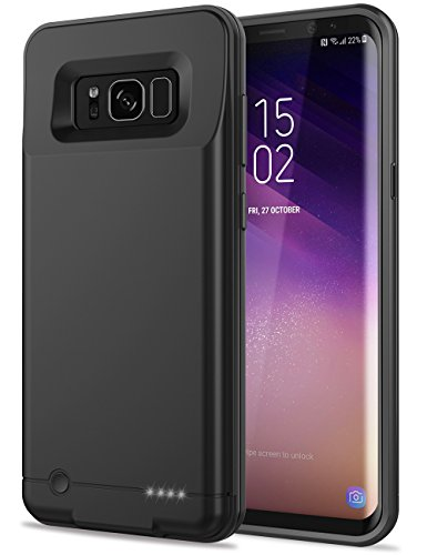Galaxy S8 Plus Battery Case,Emishine Ultra Slim 5000mAh Portable External Backup Case Battery For Samsung Galaxy S8 Plus/Rechargeable S8+ Power Bank Case (6.2''-S8 Plus-Black) by Emishine