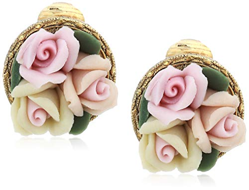 1928 Jewelry Women's Gold Tone 3 Flower Pink & White Porcelain Flower Round Button Clip Earrings, Pink, One Size
