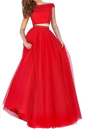 Abschlussballkleider Rot teilig Tuell Abendkleider Fesltichkleider Braut Damen La Marie Zwei Promkleider Lang O0HxPHnW