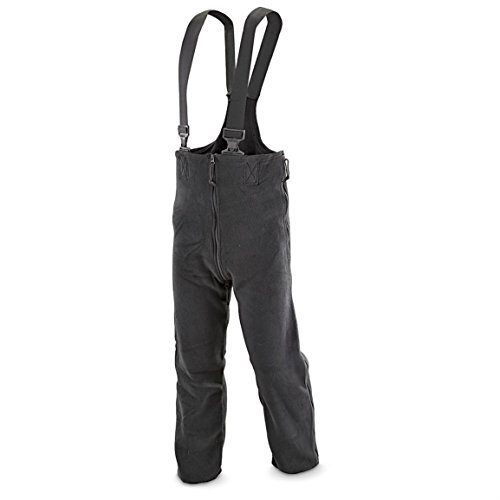 Polartec Military Extreme Cold Weather Fleece Overalls Bibs, Snowpants, Black, X-Large Long ()