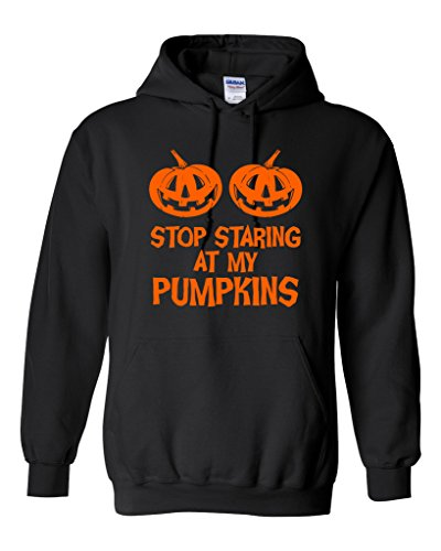 Stop Staring At My Pumpkins Costume Funny Hoodie Sarcastic Halloween 5XL Black (This Guy Just Won Halloween)