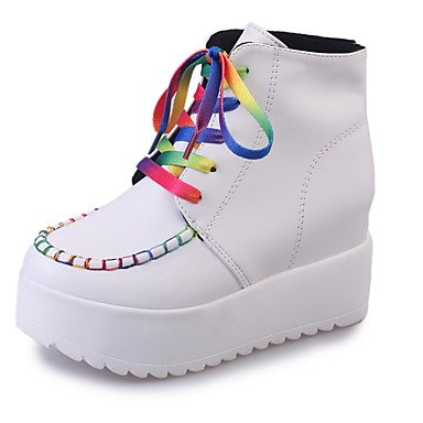 Heel PU amp;xuezi Flat up Fall Women's White Black Boots Black Flat Casual Comfort Gll Lace ZvHnH