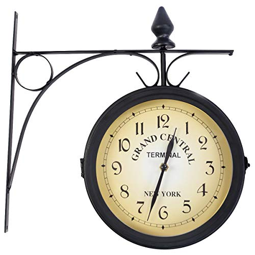 USA_BEST_SELLER Vintage Antique Double Side Wall Mounted Station Clock Home Decor Bicycle Clock Retro Antique Double Sided Wall-Mounted Clock Garden Hallway Outdoor Station Decor from USA_BEST_SELLER