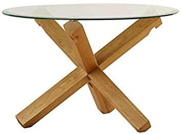 Solid Oak Coffee Table Small Living Room Furniture Large Round Clear - Long wooden side table
