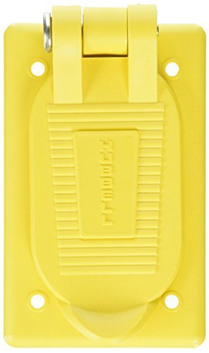 Hubbell Wiring Systems HBL52CM21 Valox Spring-Loaded Lift Cover for Weatherproofing Duplex Receptacles, Yellow