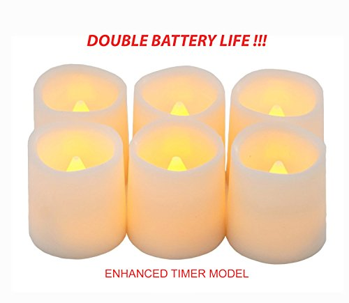 Festival Delights Timer Flameless Candles By Premium IC-controlled Soft Flickering Votive Battery Operated Candles, 150+ Hours of Lighting, 5H Timer, Battery included, Dia. (Battery Operated Votive)
