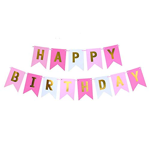 (Happy Birthday Banner, Party Decoration Pink & Gold)