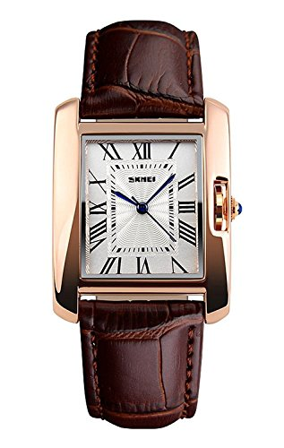 Fanmis Womens Watches Rose Gold Case Roman Numeral Luxury Wristwatch Brown Leather Strap Watch