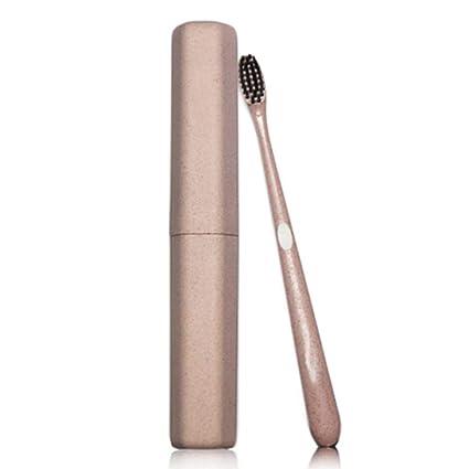 Cepillo pequeño cabeza de bambú carbón cepillo de dientes trigo paja cepillo dental limpieza