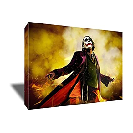 Heath Ledger as The JOKER CANVAS Painting Poster Artwork on CANVAS ART Print (36x48 inches
