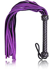 Rekink Heavy Duty Purple Suede Leather Flogger, Whip, and Crop with Braided Handle Equestrian Horse