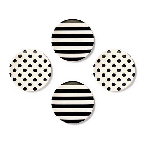 Kate Spade New York Raise a Glass Tidbit Plate, Black/White (Kate Spade Black And White)