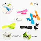 Mini Cell Phone Fan - Colorful and Powerful 2-in-1 Phone Fan for iPhone/iPad/Android