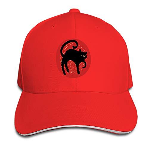 Halloween Cat Moon Men's Structured Twill Cap Adjustable Peaked Sandwich Hat