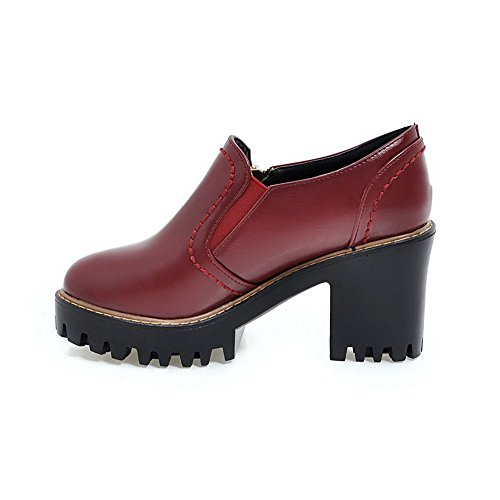 VogueZone009 Damen PU Leder Hoher Rund Zehe Rein Ziehen auf Pumps Schuhe Weinrot