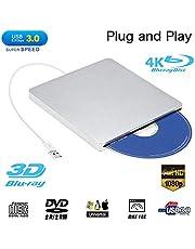 External Blu ray DVD Drive,Ploveyy USB 3.0 Ultra Slim 3D 4K External Blu Ray Player Writer Portable BD/CD/DVD Burner Drive Polished Metal Chrome for Mac OS, Windows 7/8/10,Linxus, Laptop (Sivery)