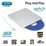 External Blu ray DVD Drive,Ploveyy USB 3.0 Ultra Slim 3D 4K External Blu