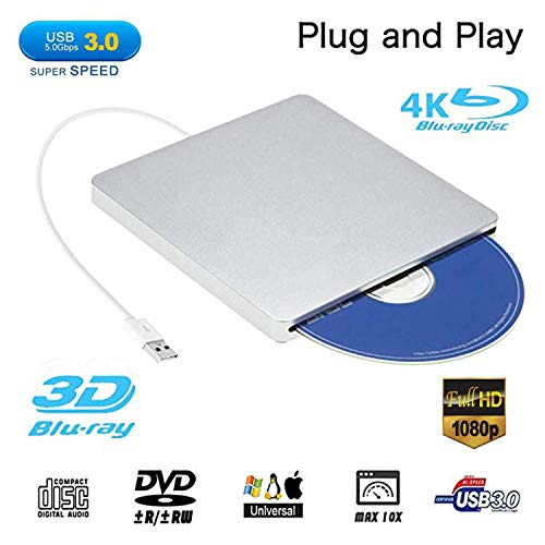 External Blu ray DVD Drive,Ploveyy USB 3.0 Ultra Slim 3D 4K External Blu Ray Player Writer Portable BD/CD/DVD Burner Drive Polished Metal Chrome for Mac OS, Windows 7/8/10,Linxus, Laptop (Silver)