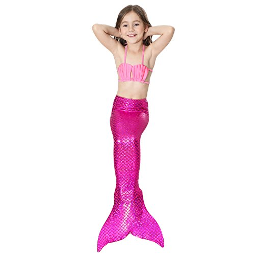 Adkinly 4Pcs Set Kids Girls Sparkle Mermaid Tail With Monofin Swimmable Swimwear