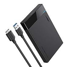 "UGREEN Carcasa Disco Duro 2.5"" USB 3.0 con UASP Caja Disco Duro de HDD SSD SATA I/II/III de 7mm 9.5mm de Altura, 10 TB MAX, Carcasa Disco Duro para MacBook, Xbox One, PS4, PS3, TV, con Cable USB 3.0"