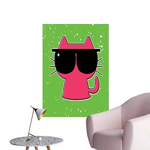 Vinyl Artwork Cat Sunglass Hipster Baby Nursery Children Lime Green Pink Black Easy to Peel Easy to Stick,12
