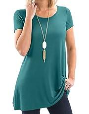 Bella Women's Designer Short & Long Sleeve Tunic Tunic - Super Soft Loose Fit T-Shirt Tunic Top, Symmetrical Hem, Casual Blouse