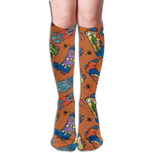 HFXFM Novelty Knee High Socks Vintage Cowboy Boot Outdoor Athletic Running Long Socks Unisex -