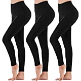 Womens High Waisted Leggings - Soft Athletic Tummy Control Pants for Running Cycling Yoga Workout (3 Pack Black, Large - X-Large)