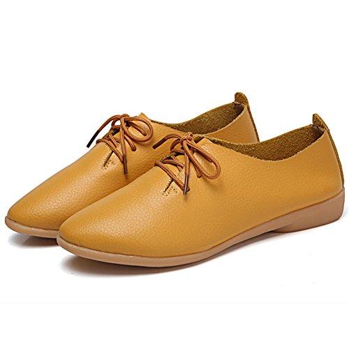 Mujer Cuero 1 Zapatos Amarillo de de Cordones para DoraTasia n7HYq4n