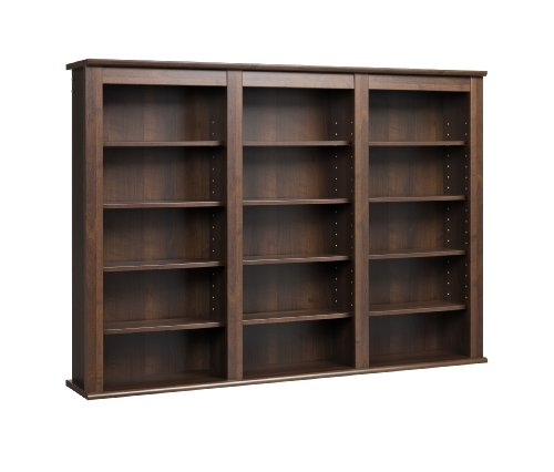 Triple Wall Mounted Media Storage - Espresso