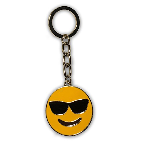Emoji Key Chain - Everything Emoji Cool Sunglasses Keychain - Premium Quality Small Key Charms for Teenager Backpack - Cute Cool Sunglasses Emoji Ring - Emoticon Backpack Clips for Kids ()