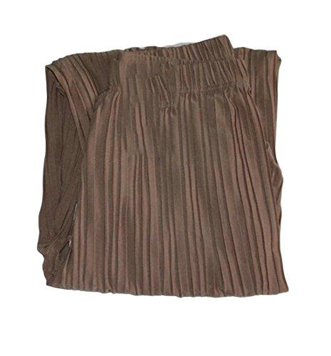- Wopop Women Wide Leg Pleated Elastic Waist Ankle Length Palazzo Pants Light Khaki Medium