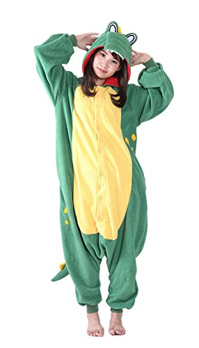 Unisex Audlt Green Crocodile Pajamas One-Piece Cosplay Costume Sleepwear Luxury Fleece with Pocket for Women Man Halloween]()