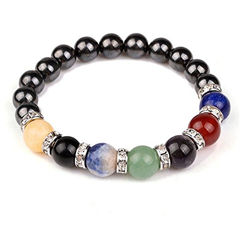 JDZ Amulets Chakra Hematite Bracelet Healing Crystal Magnetic Therapy Stretch Stone Beaded Bracelet(8mm) For Men&Women - Magnetic Crystal