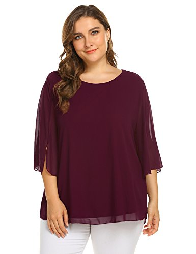 IN'VOLAND Plus Size Women's Casual Chiffon Ladies Scoop Neck 3/4 Petal Sleeve Blouse Tops (24W, Wine Red)