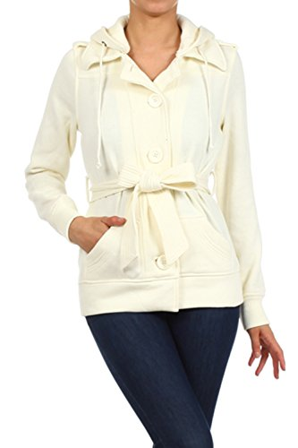 [Bubble B Women's Hooded Button Front Waist Tie Peacoat Cream Large] (Button Front Hooded Coat)