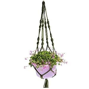 Planta colgante Hanger, nailon, maceta de cesta yute 2pierna 40cm planta percha para interior exterior, redondos y cuadrados macetas