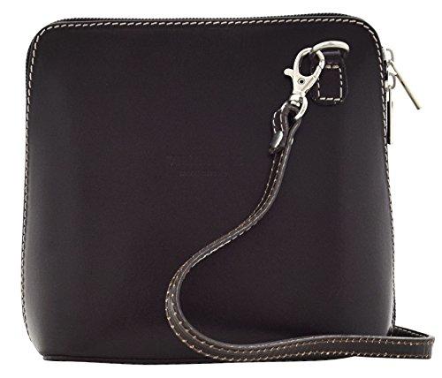 Cross Genuine Women's Shoulder Brown Handbags Dark Bags Bag DELIZIA Body Leather qwxU0YI5