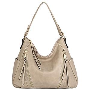 UTO Women Handbag PU Leather Purse Double Zipper Hobo Style 3 Ways Shoulder Bag 4