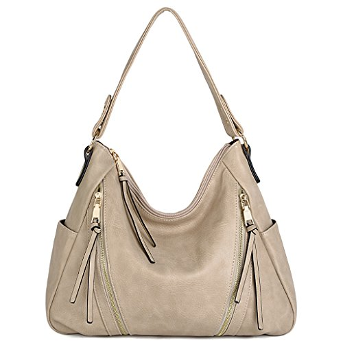 Double Front Pocket Handbag - UTO Women Handbag PU Leather Purse Double Zipper Hobo Style 3 Ways Shoulder Bag A Aricot
