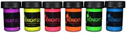Midnight Glo Washable Non-Toxic UV/Backlight Reactive Neon Fluorescent Face and Body Paint Glow Kit, 6 Bottles (.75 oz. Each)