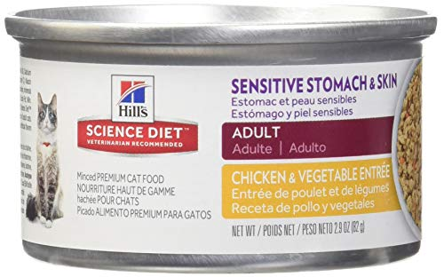 Hill'S Science Diet Adult Sensitive Stomach & Skin Wet Cat Food, Chicken & Vegetable Entre Canned Cat Food, 2.9 Oz, 24 Pack