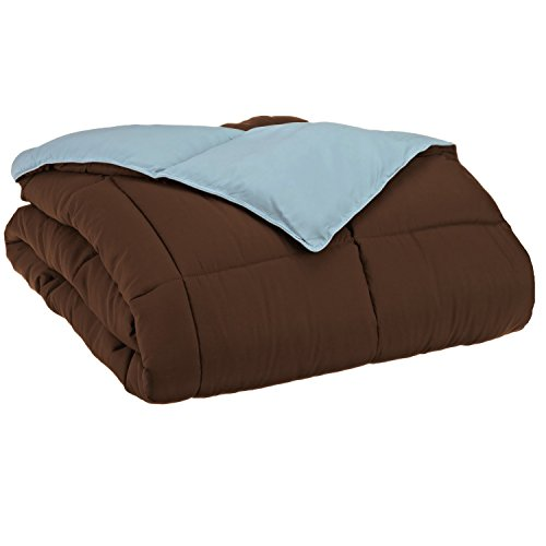 Brown And Blue Comforter - Superior Reversible Down Alternative Comforter, Medium Weight Bedding for All Season Use, Fluffy, Warm, Soft & Hypoallergenic - King Size, Chocolate & Sky Blue