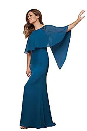 kelaixiang Women Chiffon Round Neck Long Mother of Bride Dress for Wedding Evening Party