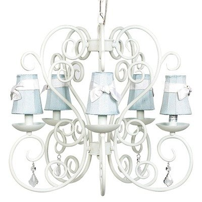 Petal Flower Sconce Shade - Jubilee Collection 75502-6003 5 Arm Carriage White Chandelier with Pink Petal Flower Sconce Shade