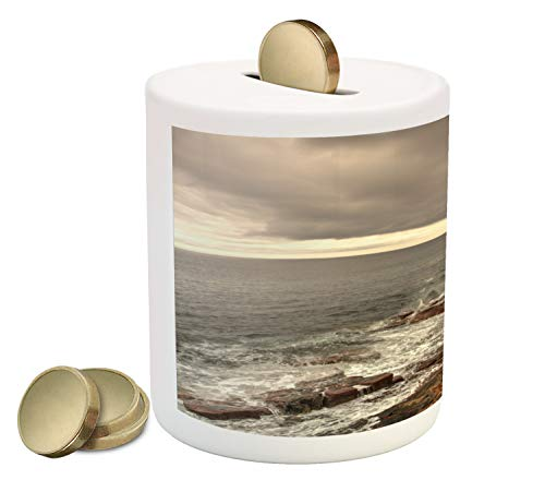 (Lunarable Acadia Piggy Bank, Rocky Cliff Shore Ocean Waves with Overcast Sky Land Forms and Nature Photo, Printed Ceramic Coin Bank Money Box for Cash Saving, Multicolor)