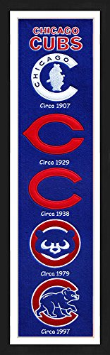 (Winning Streak Chicago Cubs Framed Heritage Banner 13x36 inches.)