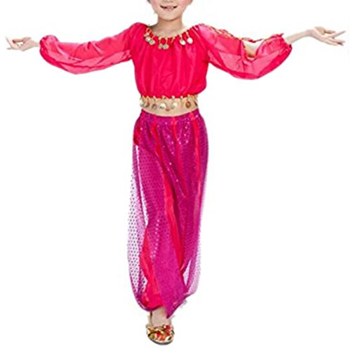 BellyLady Kid Tribal Belly Dance Costume, Harem Pants & Top For Halloween-rose red-L - Halloween Costumes Red Pants